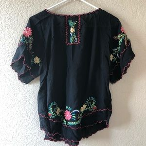 Willow and Clay boho embroidered blouse floral